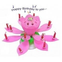 Świeczka tańcząca z fontanną happy birthday różowa