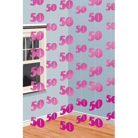 Dekoracja Wisząca Na 50 Tkę Różowa 1 Kpl