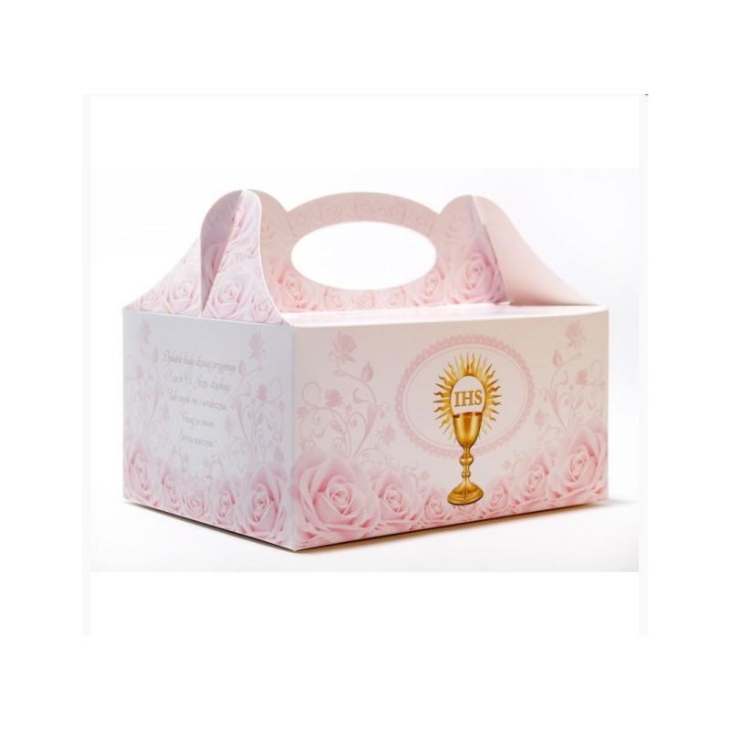 pudełko na ciasto komunijne kielich różowe