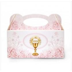 pudełka na ciasto komunijne kielich różowe