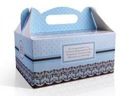 pudełko na ciasto komunijne niebieskie