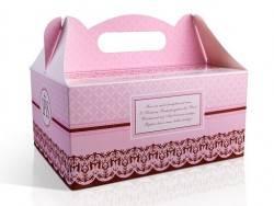 pudełko na ciasto komunijne różowe