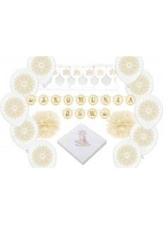 zestaw dekoracji komunijnych biało-złoty