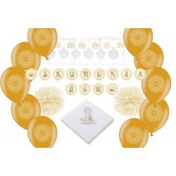 zestaw dekoracji komunijnych złoty