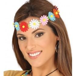 Wiązana opaska damska z kolorowych kwiatów