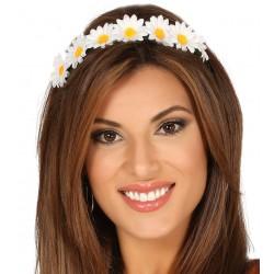 Wiązana opaska damska z białych kwiatów