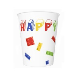 Kubeczki urodzinowe KLOCKI LEGO 250ml  8 szt