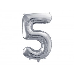 balon foliowy srebrny cyfra 5