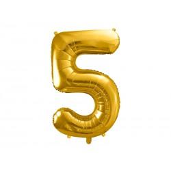balon foliowy cyfra 5 złoty