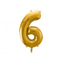 balon foliowy cyfra 6 złoty