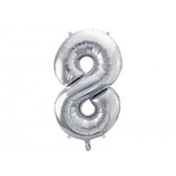 balon foliowy cyfra 8 srebrna
