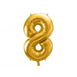 balon foliowy cyfra złota 8