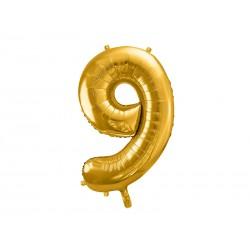 balon foliowy cyfra 9 złoty