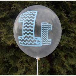 Balon przeźroczysty Roczek 1 niebieski