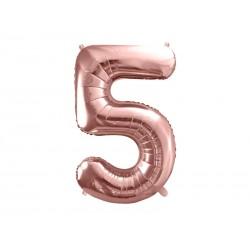 balon cyfra 5 różowe złoto