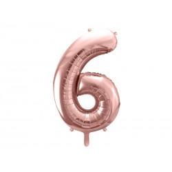 balon cyfra 6 różowe złoto