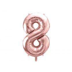 balon cyfra 8 różowe złoto