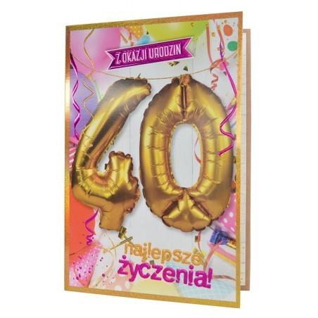 Kartka Na 40 Urodziny Najlepsze życzenia Różowa