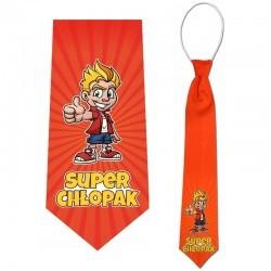 krawat z nadrukiem super chłopak