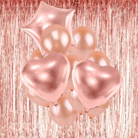balony rose gold kurtyna