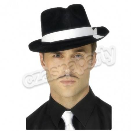 84ccf5200 Kapelusz Al Capone czarny z białą lamówką 1 szt.