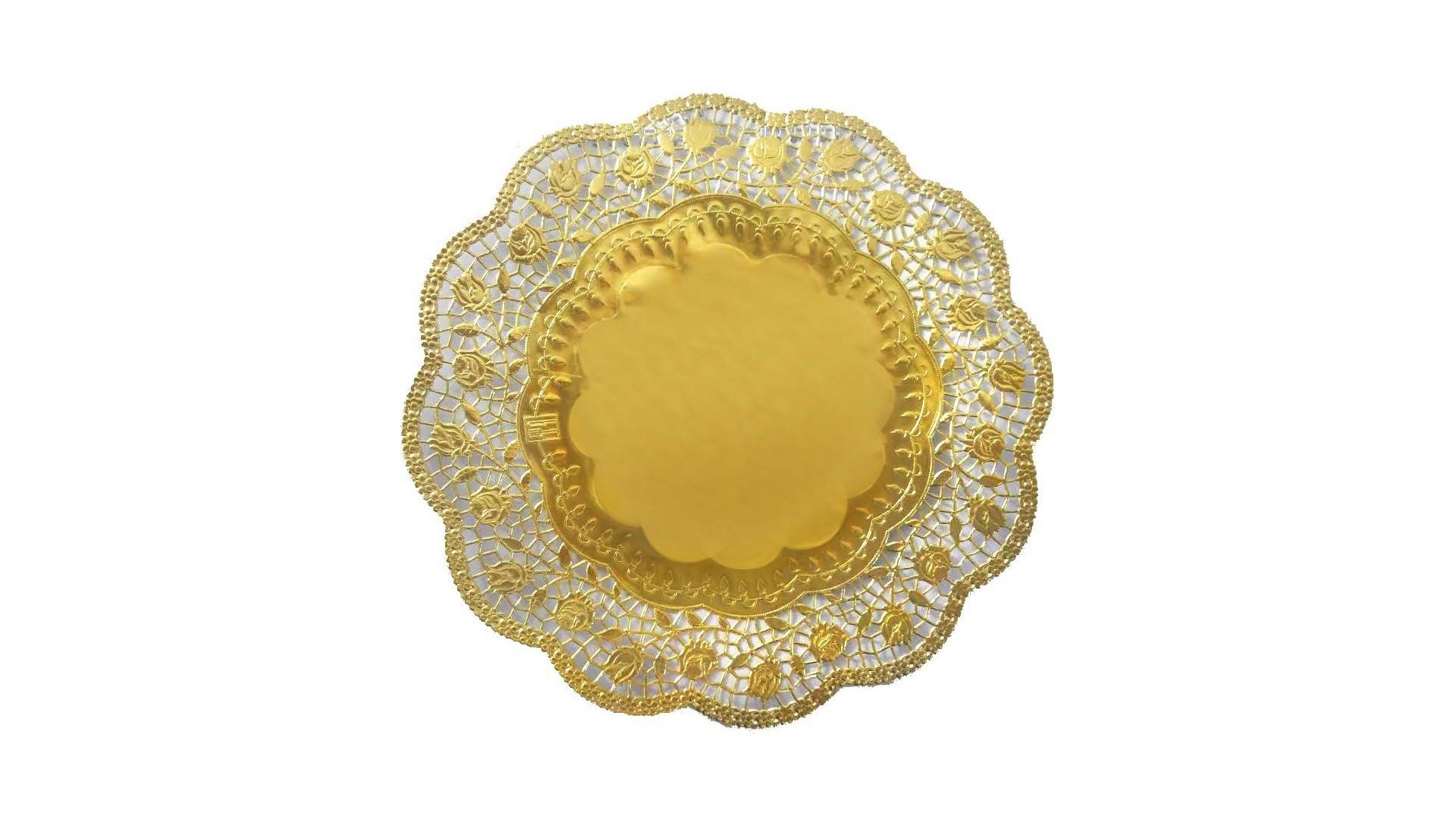 Serwetki Pod Tort Talerz Złote 36 Cm 1 Szt